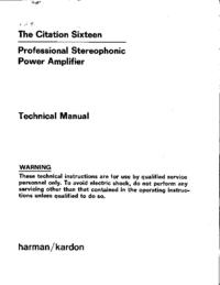 Руководство по техническому обслуживанию HarmanKardon Citation 16