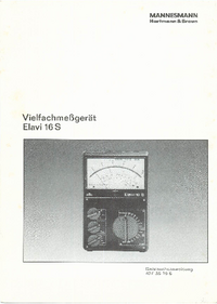 Service and User Manual HartmannBraun Elavi 16S