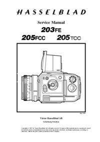 Manual de serviço Hasselblad 205TCC