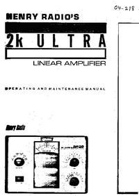 Serviço e Manual do Usuário Henry 2K Ultra