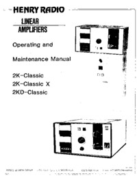 Service and User Manual Henry 2K-Classic