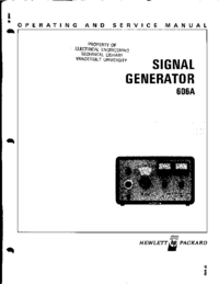 Service and User Manual HewlettPackard 606A