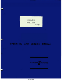 Service and User Manual HewlettPackard 204C