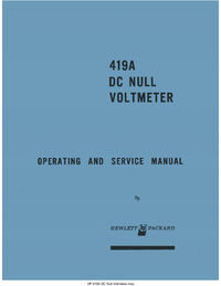 Service and User Manual HewlettPackard 419A