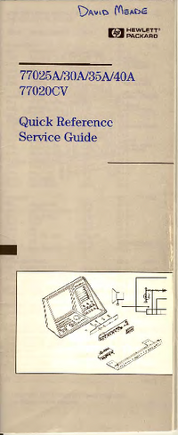 Service Manual HewlettPackard 77030A