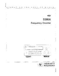 User Manual HewlettPackard 5386A