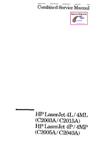 Service Manual HewlettPackard C2015A)