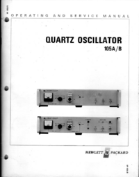 Service and User Manual HewlettPackard 105A