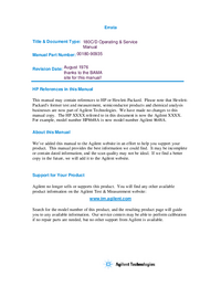 Service and User Manual HewlettPackard 180D