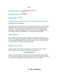 Service- und Bedienungsanleitung HewlettPackard 3575A