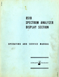 Serwis i User Manual HewlettPackard 851B