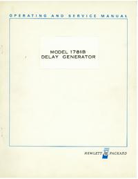 Servicio y Manual del usuario HewlettPackard 1781B