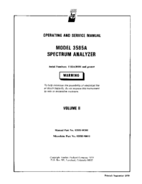 Serwis i User Manual HewlettPackard 3585A