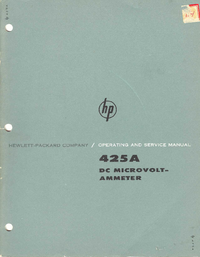 Service and User Manual HewlettPackard 425A
