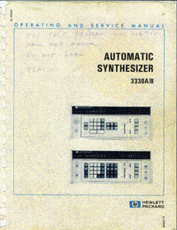 Service and User Manual HewlettPackard 3330B