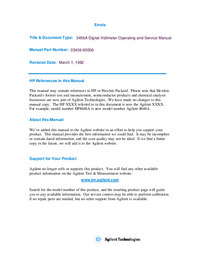 Service and User Manual HewlettPackard 3456A