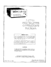 User Manual HewlettPackard 3478A