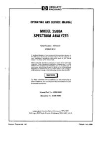 Service- und Bedienungsanleitung HewlettPackard 3580A