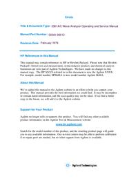 Serviço e Manual do Usuário HewlettPackard 3581C