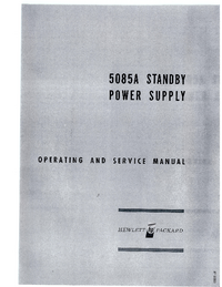 Service and User Manual HewlettPackard 5085A