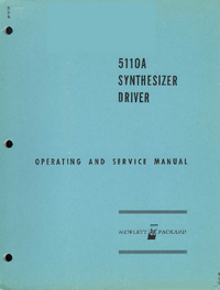 Service and User Manual HewlettPackard 5110A