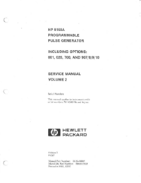 Service Manual HewlettPackard 8160A