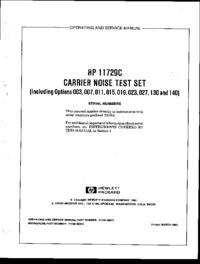 Servicio y Manual del usuario HewlettPackard 11729C