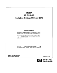 Serwis i User Manual HewlettPackard 83522A