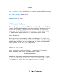 Service and User Manual HewlettPackard 8558B