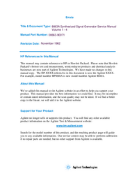 Service Manual HewlettPackard 8663A