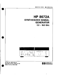 Service Manual HewlettPackard 8672A