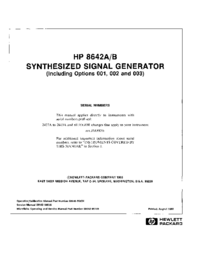 Service and User Manual HewlettPackard 8642A
