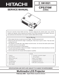 Servicehandboek Hitachi CP-S370W