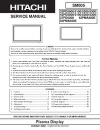 Service Manual Hitachi 55PMA550E