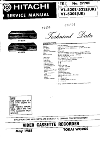 Service Manual Hitachi VT522