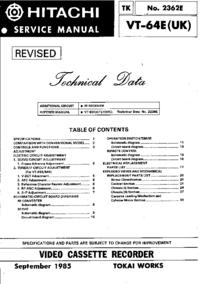 Manual de serviço Hitachi VT-64E