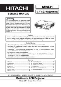 Руководство по техническому обслуживанию Hitachi CP-S235W