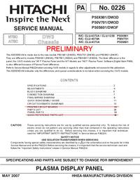 Servicehandboek Hitachi P50X901/DW3D