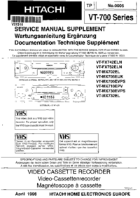 Service Manual Supplement Hitachi VT-MX705EUK