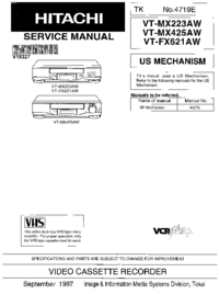 Manual de servicio Hitachi VT-FX621 AW