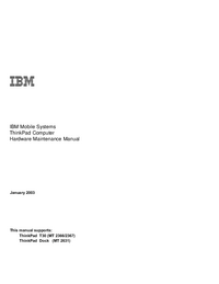 Service Manual IBM ThinkPad T30 (MT 2366/2367)
