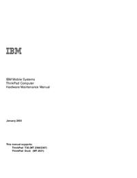 Manual de servicio IBM ThinkPad Dock (MT 2631)
