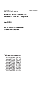 Service Manual IBM ThinkPad 355x (2619)