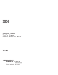 Servicehandboek IBM ThinkPad T22