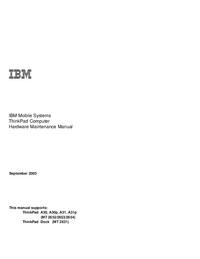 Руководство по техническому обслуживанию IBM ThinkPad A31p