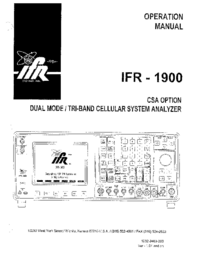 Bedienungsanleitung IFR IFR-1900 CSA Option