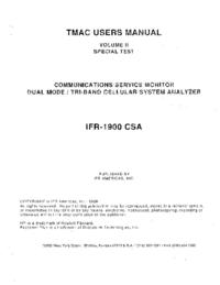 Manuel de l'utilisateur IFR IFR 1900 CSA