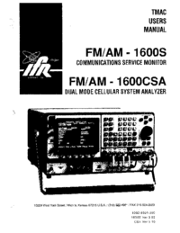 User Manual IFR FM/AM -1600CSA