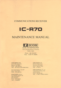 Service Manual Icom IC-R70