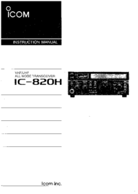 User Manual Icom IC-820H